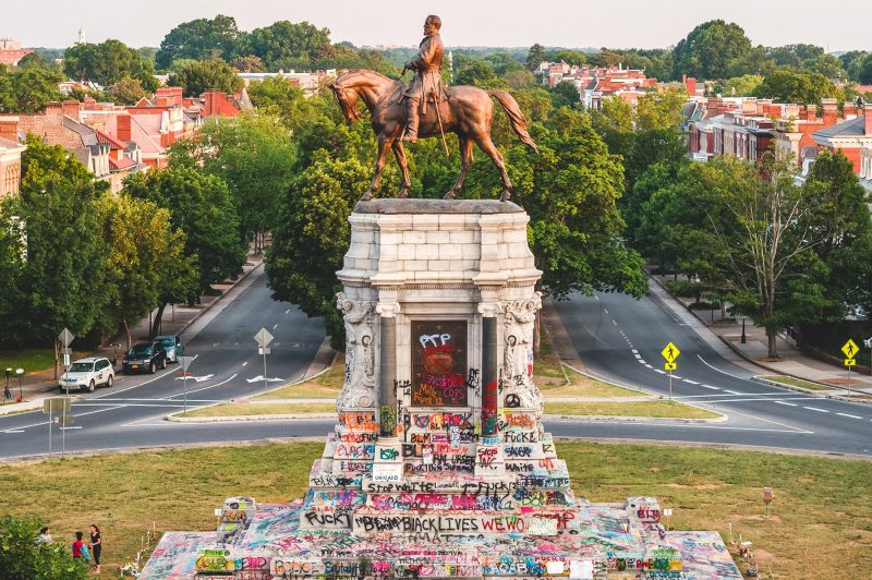 Black lives matter protest graffiti messages on the Robert E. Lee statue in Richmond, Virginia