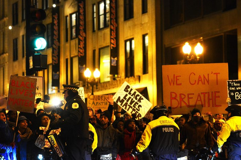 On December 7, 2014, protestors in Chicago demonstrate against police brutality against African Americans.
