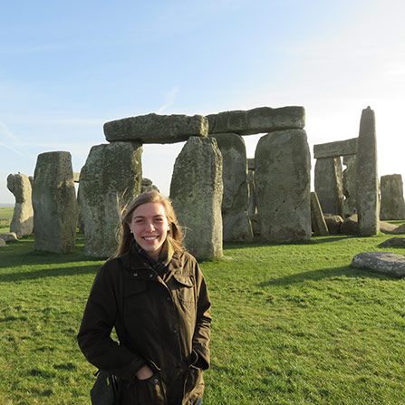 Former history major Catherine Fravel at Stonehenge