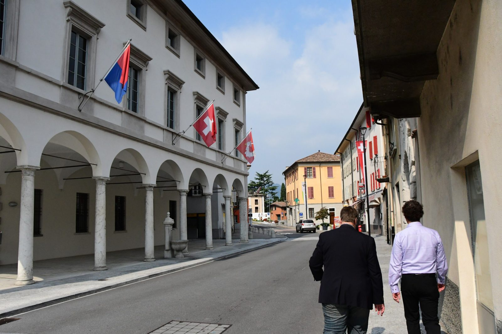 Dr. Scott Nelson and Dr. Yannis Stivachtis on a walk through town, Fall 2018, Riva San Vitale, Switzerland