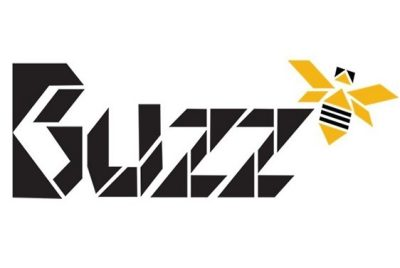 The word 'buzz' in black letters with an image of a yellow and black bee