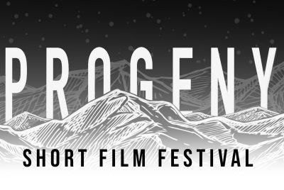 black and white image of a mountain range, with the words 'Progeny Short Film Festival'
