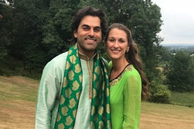 Mohsin and Katlin Kazmi, in traditional Pakistani clothing, enjoy the landscapes of Appalachia.