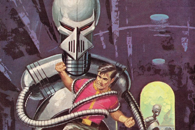 A mid-century-styled illustration of a man struggling to evade a robot's grip