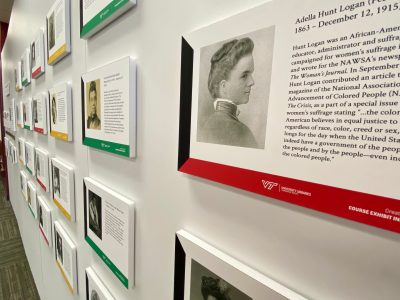 A picture of some of the stories highlighted on the exhibit walls.