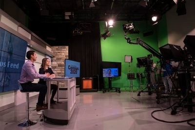 In February of this year, R.J. Garza and Ariadne Manikas, both 2020 graduates in multimedia journalism, hosted a news broadcast in the Department of Communication's studio.