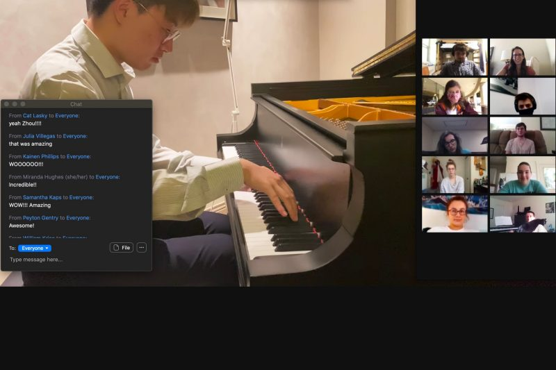 "Student Zhou Wang performs Franz Liszt's ""Grandes études de Paganini"" during a virtual Convocation meeting, which allows students to meet from their individual spaces. Photo courtesy of Annie Stevens."