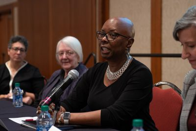 Wanda J. Smith, associate professor emerita at Virginia Tech, speaks at the diversity summit