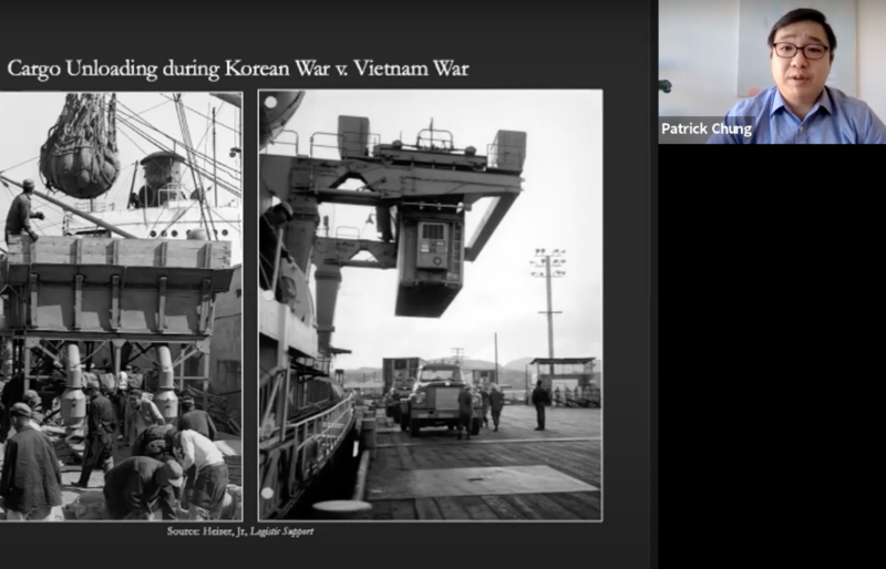 "Guest speaker Patrick Chung delivers a presentation during a webinar titled ""From Korea to Vietnam: Hanjin, the U.S. Military, and the Containerization of Global Trade"""
