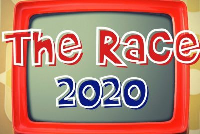 "Graphic of ""The Race 2020"" superimposed over a vintage television screen"