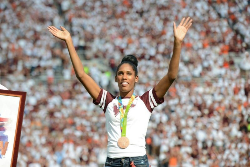 Kristi Castlin was the first female from Virginia Tech to win an Olympic medal, taking bronze in the 100-meter hurdles at the 2016 Summer Games, and she was recognized for that accomplishment at a Virginia Tech football game later that fall.