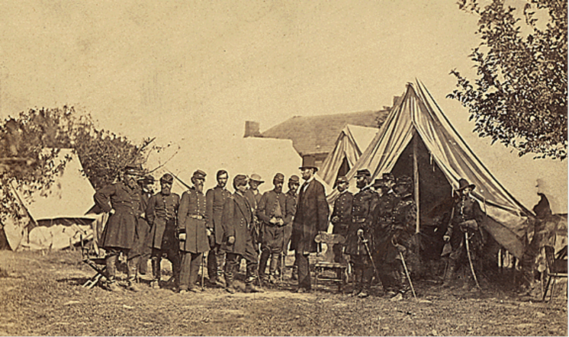President Abraham Lincoln on the battlefield of Antietam, 1862. Courtesy of the National Archives.