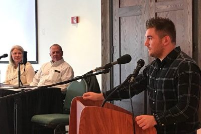 Alek Skarlatos, who helped disarm a terrorist on a train from Amsterdam to Paris, speaks at an event that was Lehi Dowell's Diversity Scholars project. Renee Cloyd and Anthony Wilson also were speakers at the event.