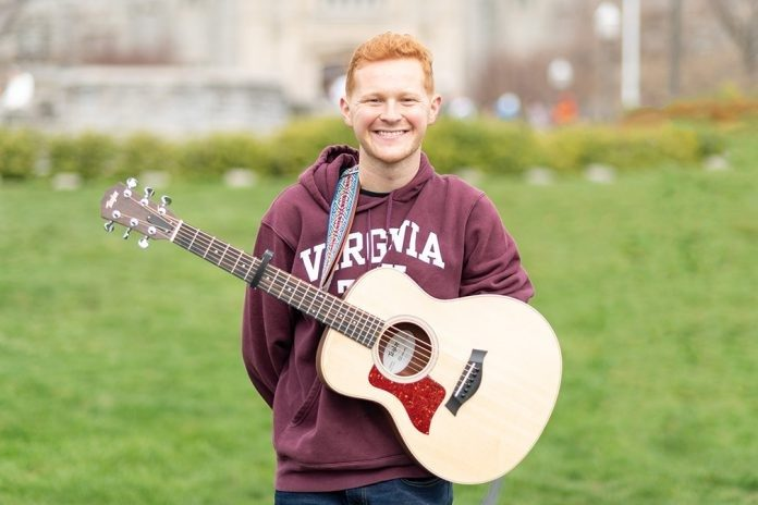Andrew Young, a junior at Virginia Tech, is a guitarist and song writer who was born with only one hand. He performs at local venues and for campus events.