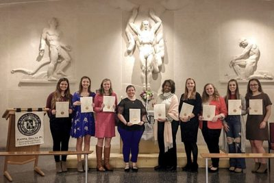 Kappa Delta Pi's Xi Zeta chapter of Virginia Tech inducted students on February 24 at the War Memorial Chapel on the Blacksburg campus.