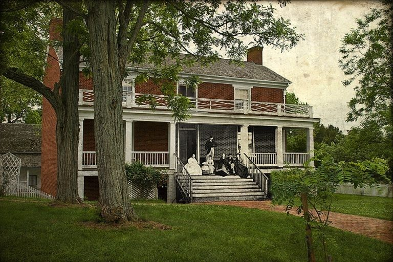 A contemporary shot of the McLean House, the site of General Robert E. Lee's surrender at Appomattox Court House, overlays a photograph of the McLean family sitting on their porch soon after the Civil War ended. (Courtesy of Ron Zanoni)