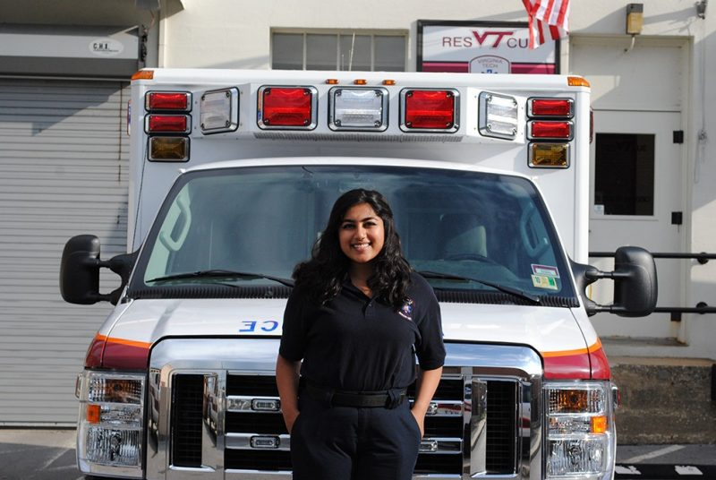Areej Khan, a member of the Virginia Tech Rescue Squad, is majoring in philosophy, politics, and economics.