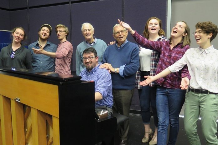 """The Sap of Life"" cast members rehearse a song with composer David Shire and lyricist Richard Maltby Jr. Pictured from left are Mary Wright, Tucker Miller, Taylor Cobb, Shire, Richard Masters (at piano), Maltby, Sydney Kendrick, Allison Harris, and Mary Haugh."