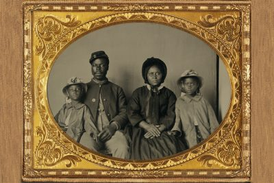 This family portrait — the only known photograph of an African American Union soldier with his family — was found in Cecil County, Maryland, making it likely that this soldier belonged to one of the seven Bureau of U.S. Colored Troops regiments in that state