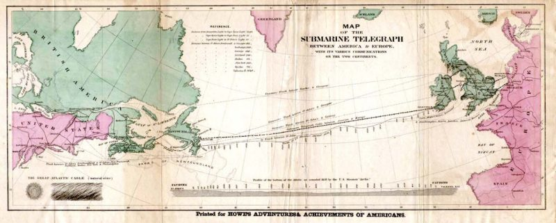 Historical Map of the route of the first transatlantic cable laid establishing hard line communications between Europe and the Americas