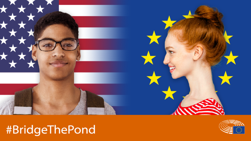 Brand image for the #BridgeThePond Initiative of the European Parliament Liason Office in DC.
