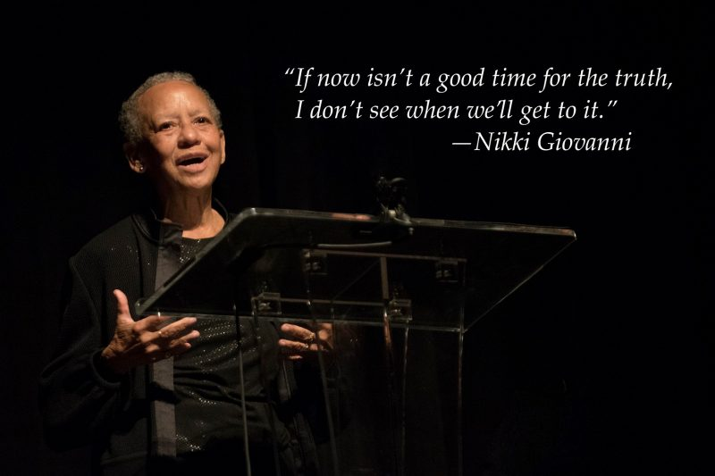Nikki Giovanni stands at a podium in 2019
