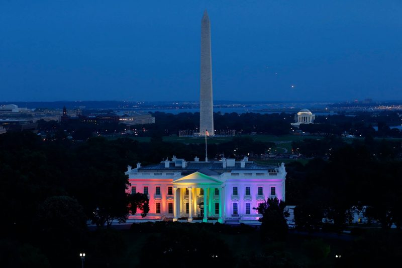 Rainbow colors on the White House celebrate the Supreme Court's 2015 decision to allow same-sex marriages.