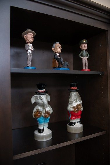 """My toy collection is bipartisan,"" says Belmonte, a political historian, about her elephant and donkey decanters and presidential bobbleheads."