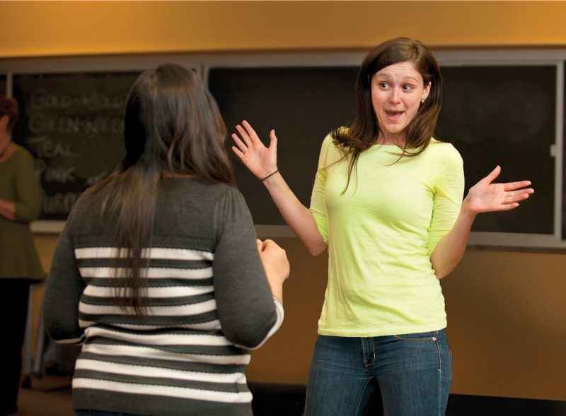 Tashauna Blankenship, then a graduate student in psychology at Virginia Tech, practices improvisational techniques to help her learn the art of communicating science.