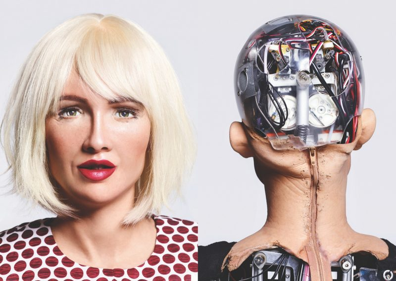 Front and back portrait of Sophia the robot