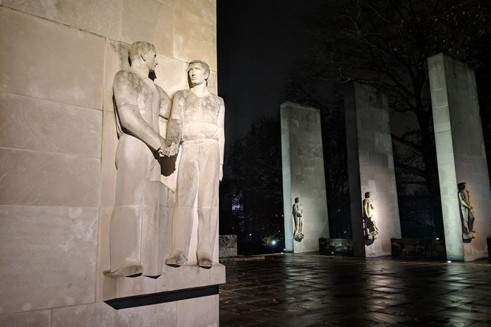 The War Memorial Pylons are engraved with both the core values upon which Virginia Tech was founded and the names of more than 400 alumni who have lost their lives in the line of duty.