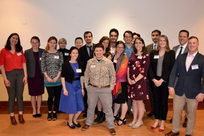 Several of the graduate students who received awards at the Graduate School Awards Dinner gathered for a quick photo after the evening event.