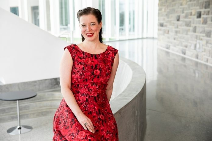 "Heather Massie recently brought her one-woman show, ""HEDY! The Life & Inventions of Hedy Lamarr,"" to the Moss Arts Center at Virginia Tech. Massie, a Blacksburg native and Virginia Tech alumna, wrote and performed in the play."