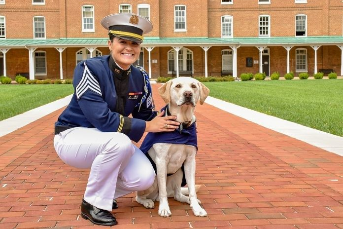 Cadet Eleanor Franc is the commander of the team that cares for Corps of Cadets ambassador Growley II.