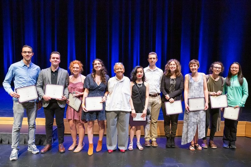 Pictured from left are Karim Eltawansy, Kyle Siecker, Emily Webb, Susan Rodriguez, Nikki Giovanni, Valerie Tran, Samuel James, Julia Simpson, Hannah Wynne, Cam Wheatley, and Avy Zhao.