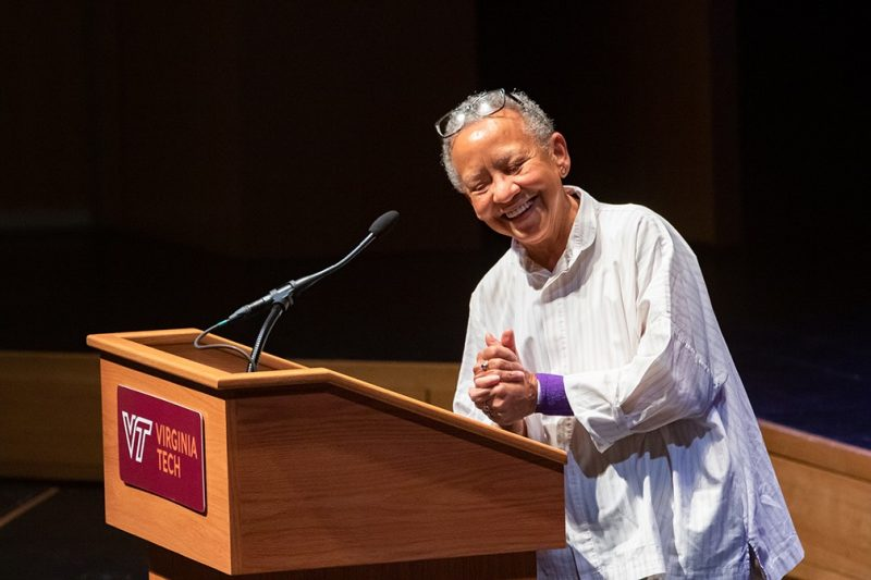 Nikki Giovanni, who has taught at Virginia Tech since 1989, is celebrated for both her poetry and her advocacy. She has received seven NAACP Image Awards, the Langston Hughes Award for Distinguished Contributions to Arts and Letters, the Rosa Parks Women of Courage Award, and the Literary Lifetime Achievement Award from the Library of Virginia.