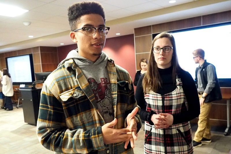 Virginia Tech history majors Nick Anthony and Jillian Doerr presented their research findings at the website launch in December 2018.