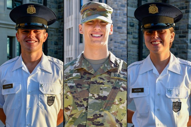 From left are Cadets Jacob Osborn, Kyle Scott, and Makenna Moore.