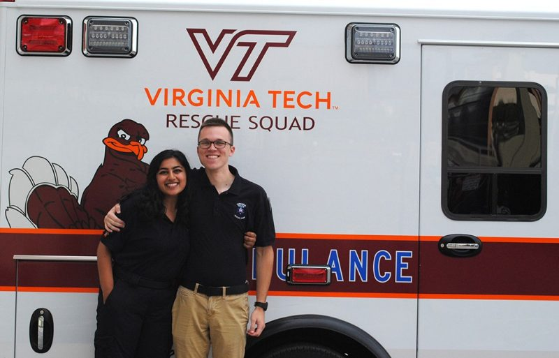 Areej Khan is a junior who serves as the public outreach lieutenant for the Virginia Tech Rescue Squad, while Ben Klingaman, a senior, is operations captain.