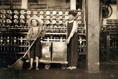 The Introduction to Data in Social Context class researched images of child workers, including this photograph of boys aged 7 and 12 working in a Roanoke, Virginia, cotton mill in 1911.