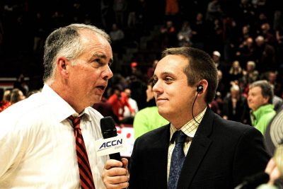 Junior Evan Hughes interviews Virginia Tech men's basketball coach Mike Young.