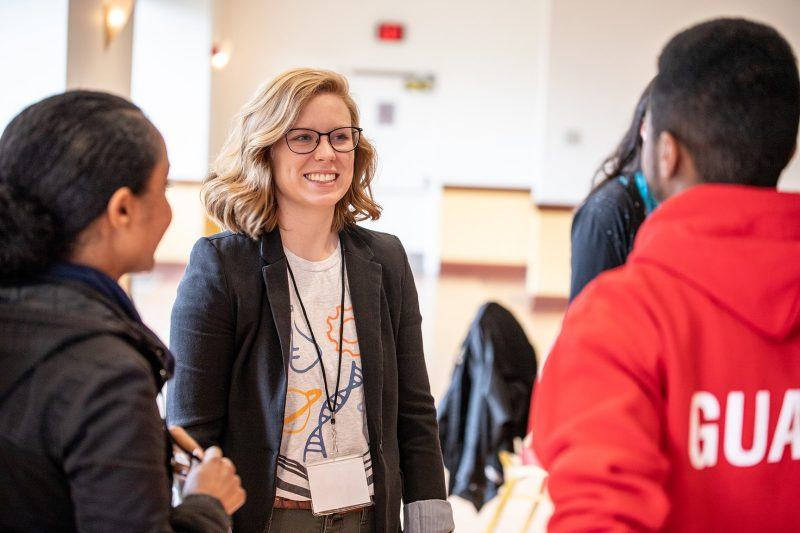 Grace Davis, a graduate student in the Department of Human Nutrition, Foods, and Exercise, talks with other participants.