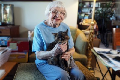 Evelyn Blake with her cat, Callie