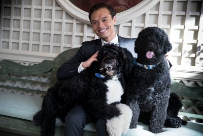 Peter Velz with two medium-sized dogs
