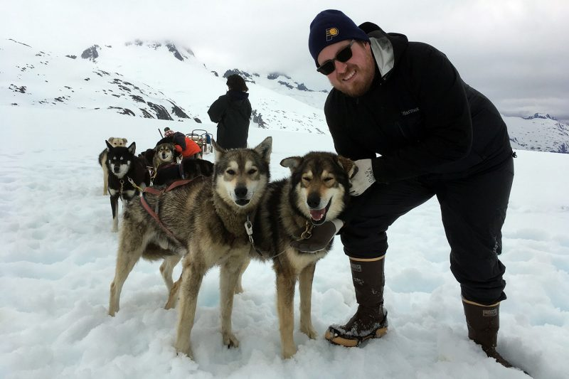 James Brooks with sled dogs in Juneau, Alaska