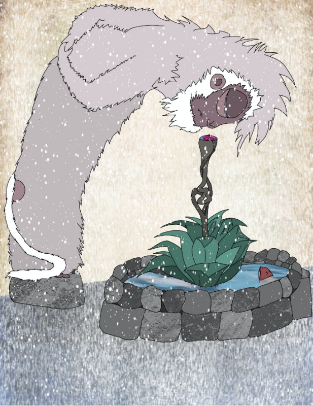 Bend #26. A snow monkey bends to smell a plant rising from an icy well, onlooking koi, peculiar stem knotted, quiet and still in snowfall.
