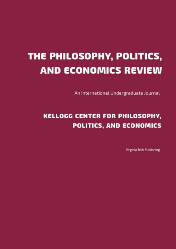 Cover of the The Philosophy, Politics, and Economics Review