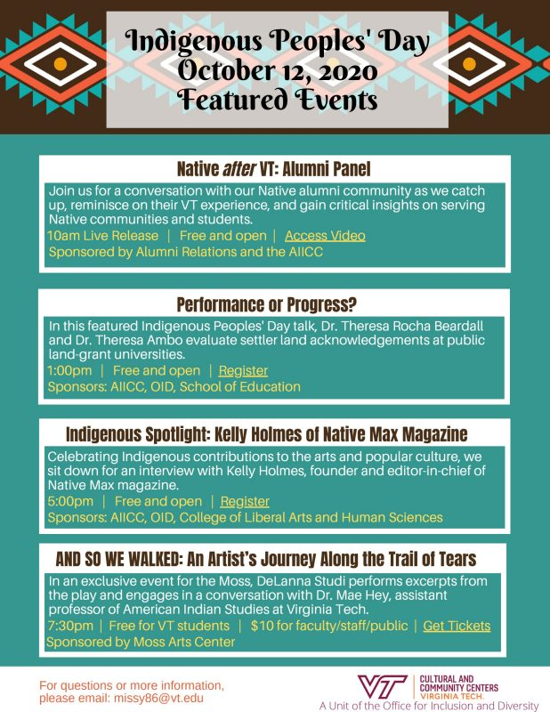 Indigenous Peoples' Day Events